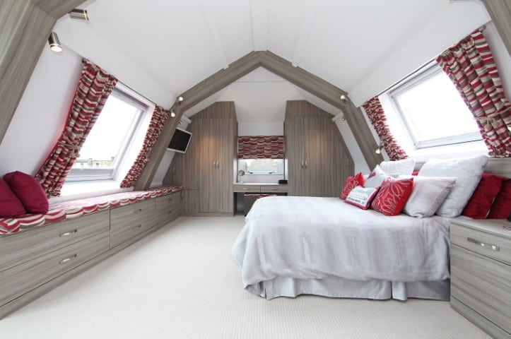 Photo of bespoke bedroom furniture in loft space
