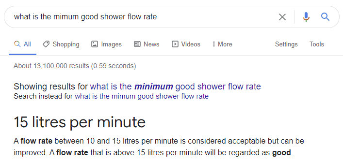 """Screenshot of google search """"what is the minimum good shower flow rate"""" and result of 15 litres per minute"""